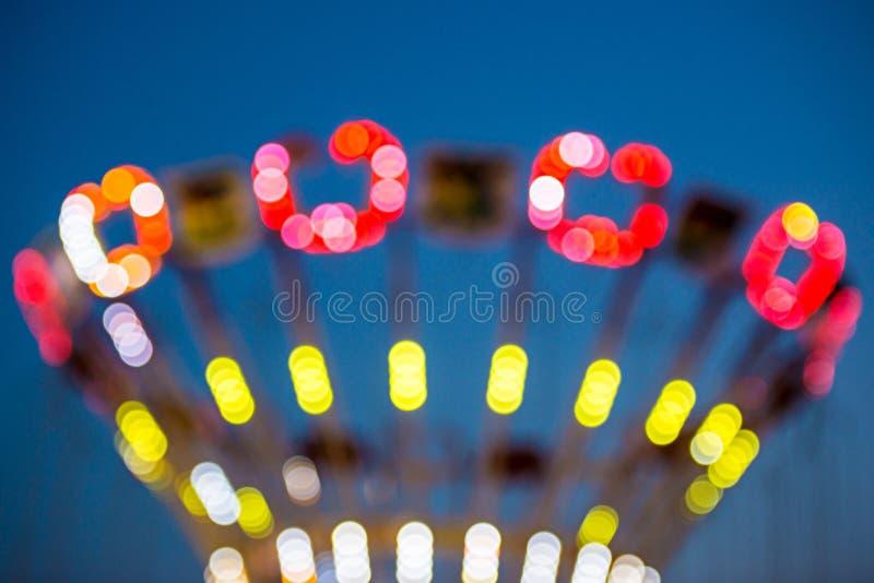 Rozmyci światła w Luna parku obraz royalty free
