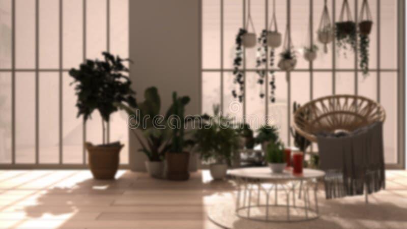 Rozmycie wnętrza tła: nowoczesny konserwatysta, ogród zimowy, białe wnętrze, salon z fotelem i stołem rattan obrazy royalty free