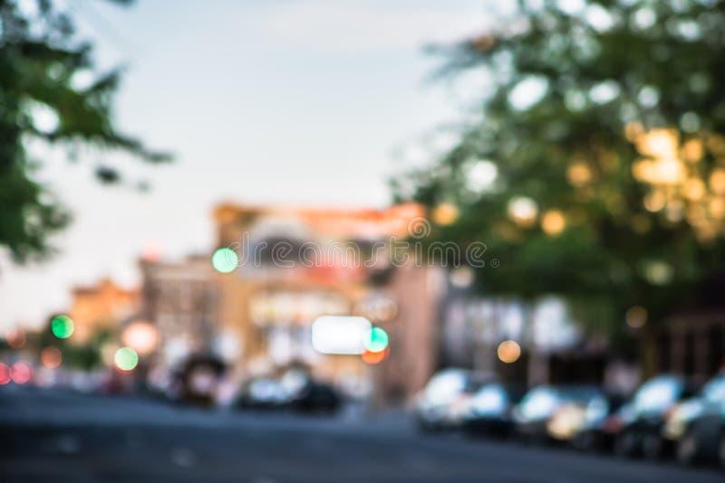 Rozmyta miękka ostrość miasto ulicy w Spokane Washington fotografia stock
