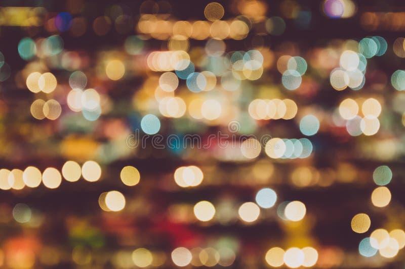 Rozmyty t?o noc rynek Abstrakt i dekoracji o?wietleniowy poj?cie Bo?e Narodzenia i nowego roku temat fotografia stock
