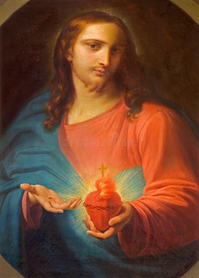 Roznava - coeur de peinture de Jésus d'autel latéral dans l'église de St Ann (franciscains) images libres de droits