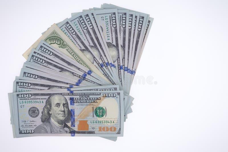 Rozniecony przygotowania 100 dolarowych rachunków obrazy royalty free