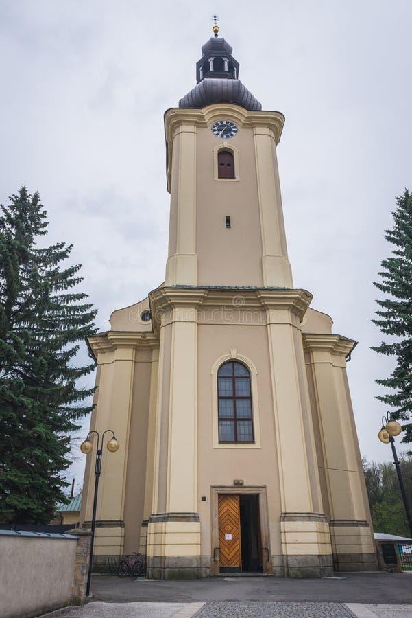 Roznov荚的Radhostem教会 库存图片