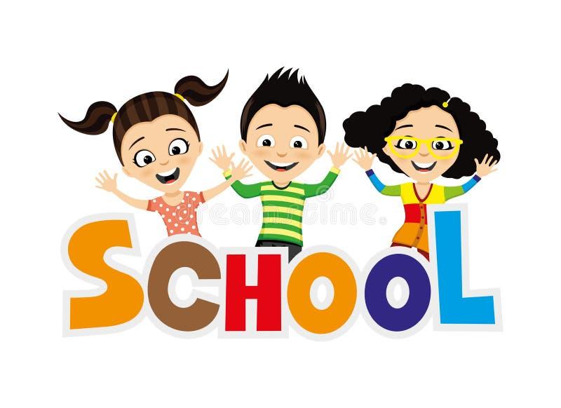 Rozochoceni dziecko w wieku szkolnym ilustracji
