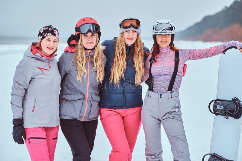 Rozochoceni kobieta przyjaciele w sport zimie odziewają z snowboard, pozuje obraz royalty free