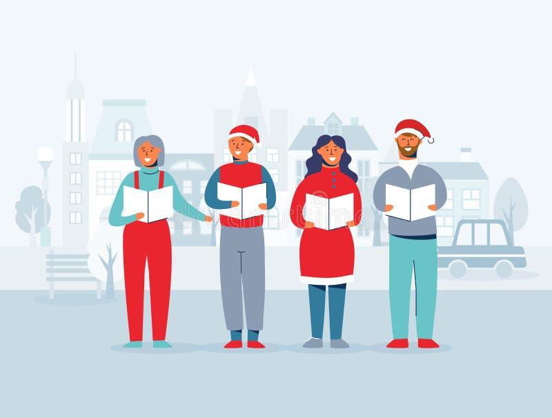 Rozochoceni ludzie Śpiewa kolęda w Santa kapeluszach Zima wakacji charaktery na pejzażu miejskiego tle Xmas piosenkarzi ilustracji