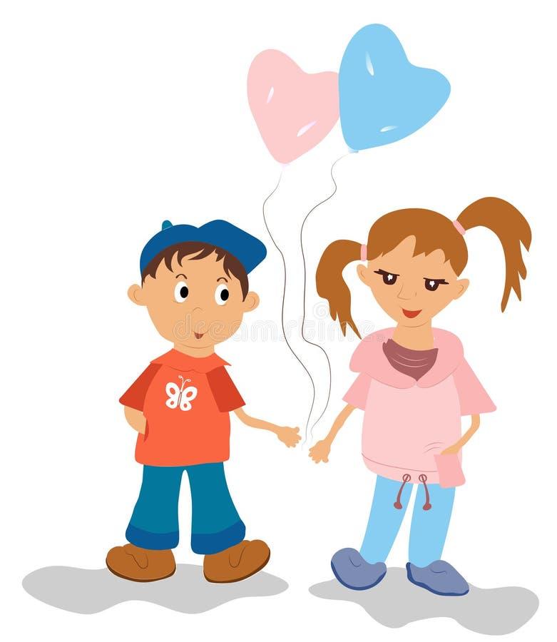 Rozochoceni, piękni dzieci, są przyjaciółmi i sztuką z kolorowym ilustracji