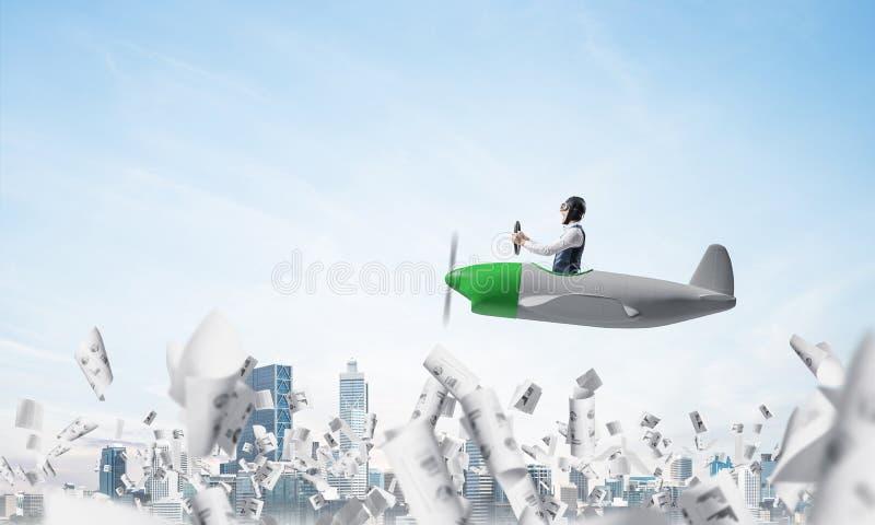Rozochoceni potomstwa pilotują obsiadanie w kabinie mały samolot ilustracja wektor