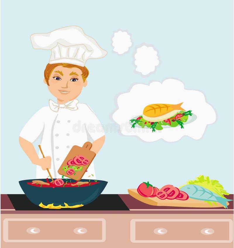 Rozochoceni szefów kuchni kucharzi w kuchni ilustracja wektor