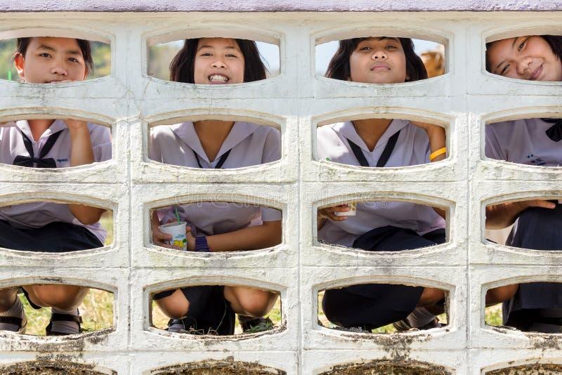 Rozochoceni Tajlandzcy ucznie obrazy stock