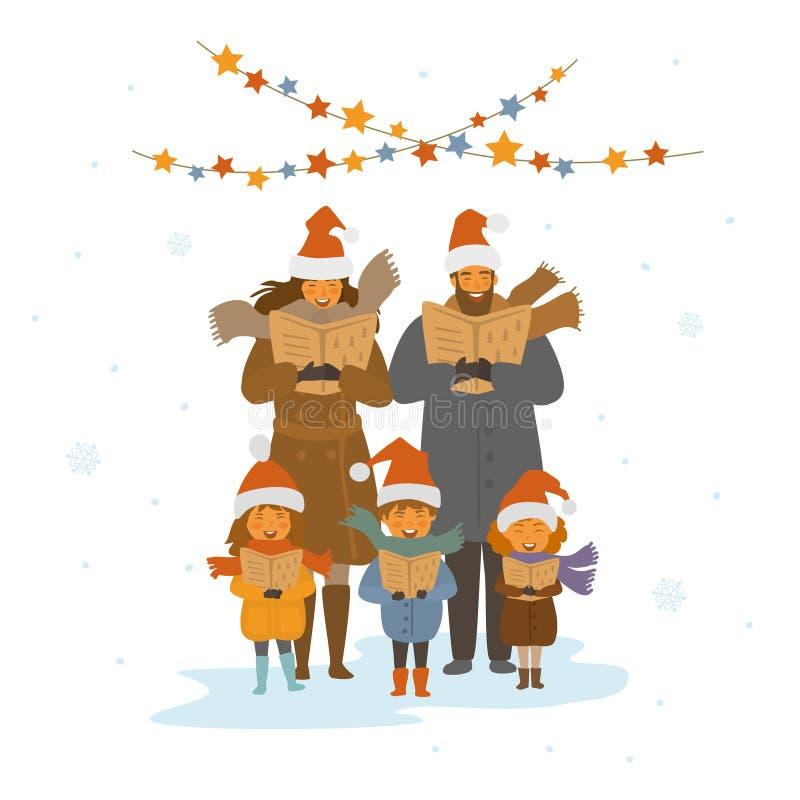 Rozochocona śliczna rodzina, dorosli i dzieciaki śpiewa boże narodzenie piosenek kolędy, odosobniona wektorowa ilustracja ilustracja wektor