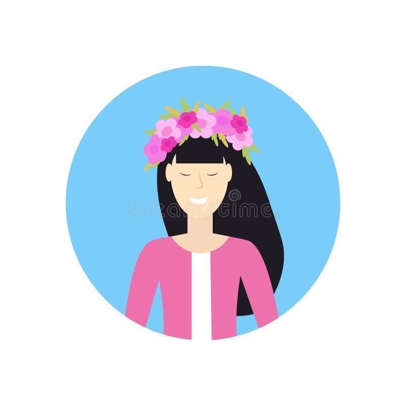 Rozochocona azjatykcia kobiety twarzy avatar dziewczyna w wianku kwiat postaci z kreskówki portreta bielu caucasian żeński tło ilustracji