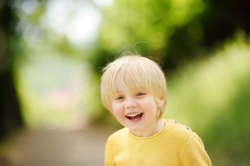 Rozochocona chłopiec cieszy się ciepłego letniego dzień zdjęcie royalty free