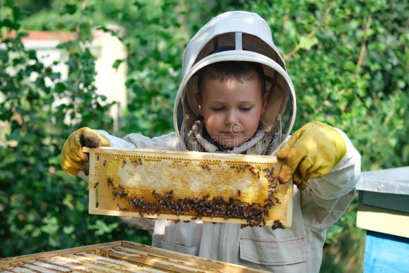 Rozochocona chłopiec pszczelarka w ochronnym kostiumu blisko ula Honeycomb z miodem Organic Jedzenia poj?cie Pożytecznie organicz zdjęcia royalty free