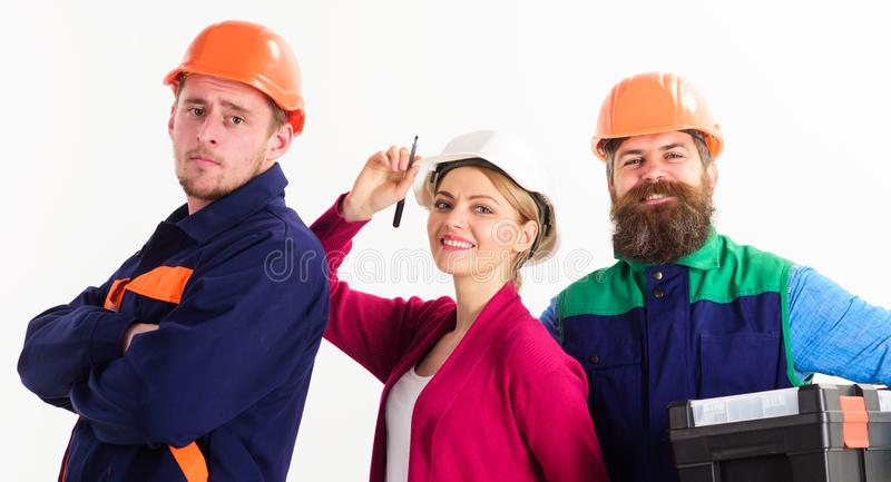 Rozochocona drużyna architekci przygotowywający pracować, odosobniony biały tło obraz stock