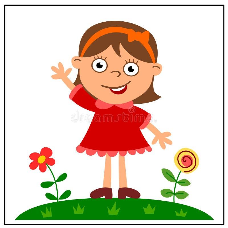 Rozochocona dziewczyna w czerwieni sukni na zielonej łące z kwiatami fotografia stock