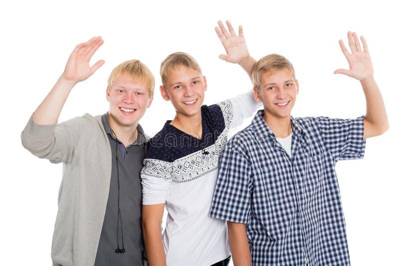 Rozochocona grupa młode chłopiec obraz stock