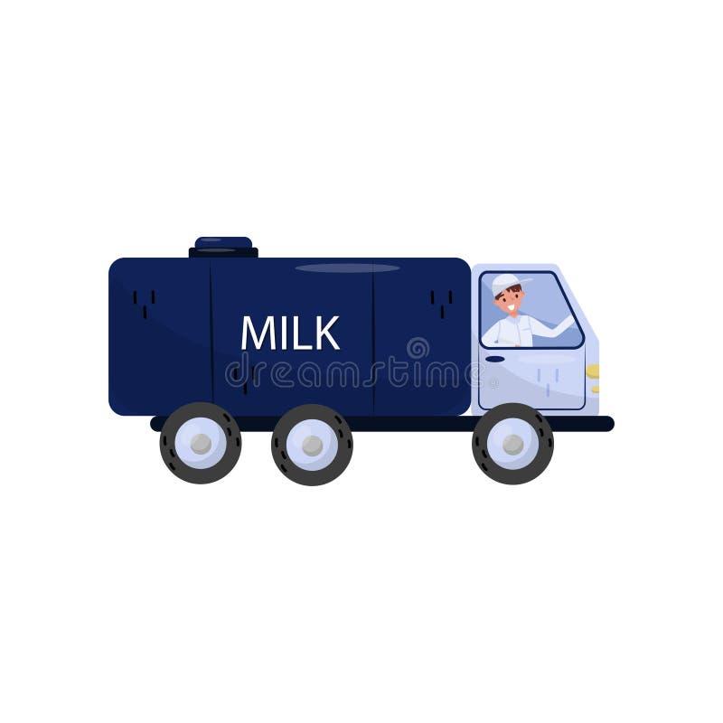 Rozochocona mężczyzna jeżdżenia ciężarówka z dojnym zbiornikiem Pojazd z dużą błękitną spłuczką Odosobniony płaski wektorowy proj royalty ilustracja