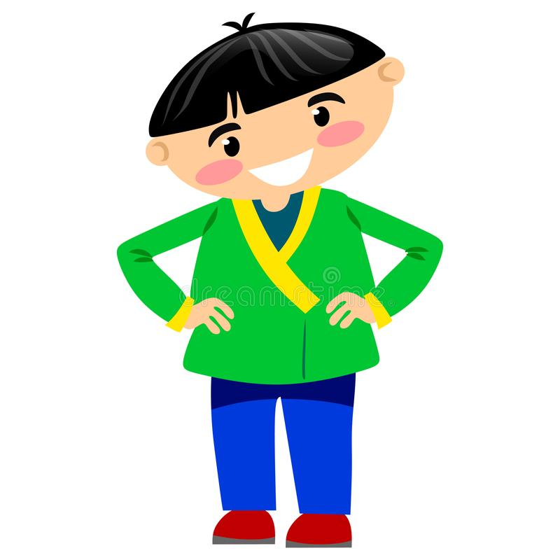 Rozochocona młody człowiek pozycja w zielonej kurtce i błękicie dyszy royalty ilustracja