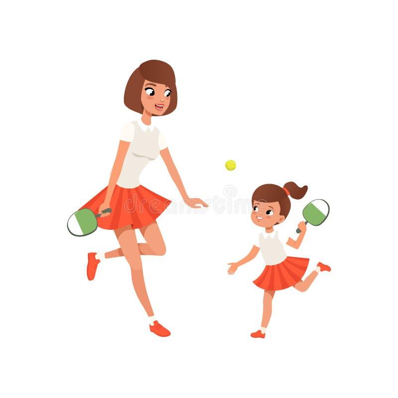 Rozochocona mama i jej córka bawić się śwista pong działalność plenerowa Dziewczyna i jej matka w sportswear Sporty rodzina ilustracja wektor