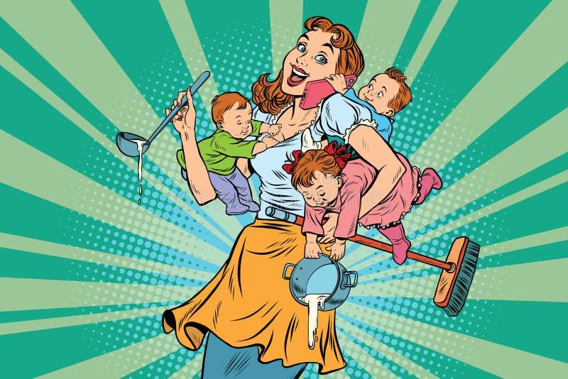 Rozochocona matka z trzy dziećmi ilustracji