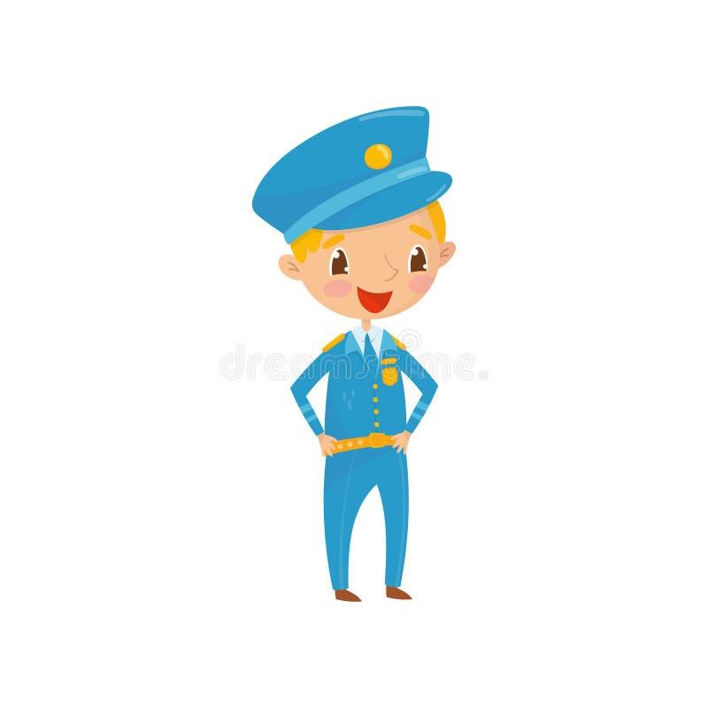 Rozochocona nastoletnia chłopiec ubierająca jako policjant Dzieciak chce być pracownikiem departament policji w przyszłości Zawód royalty ilustracja