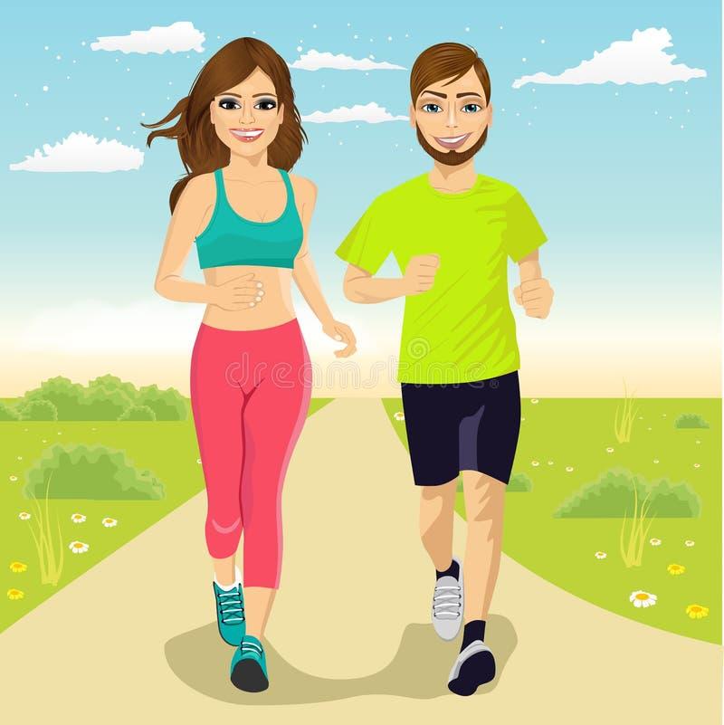 Rozochocona para biega outdoors ilustracji