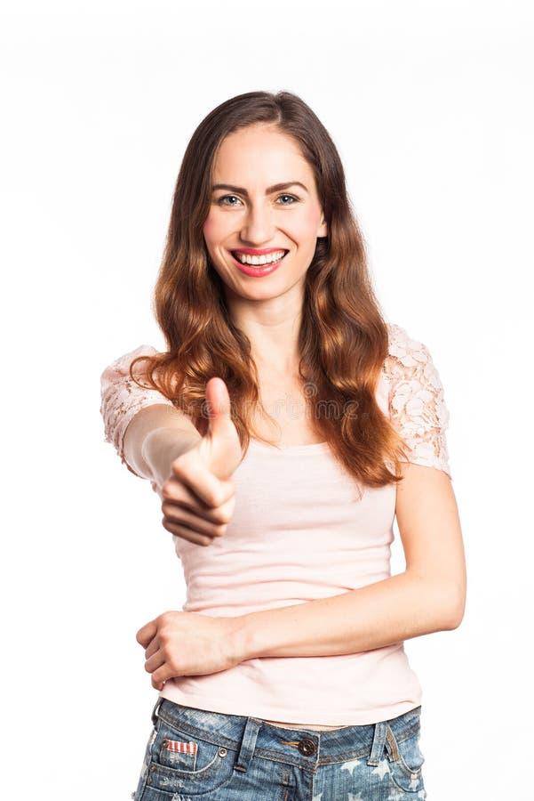 Rozochocona pozytywna kobieta zdjęcie stock