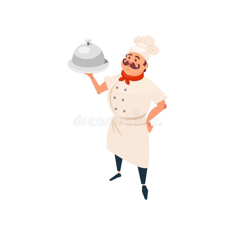 Rozochocona restauracja kucharza pozycja i mienia naczynie w jego ręce profesjonalna robota Kreskówka mężczyzna charakter z ilustracja wektor