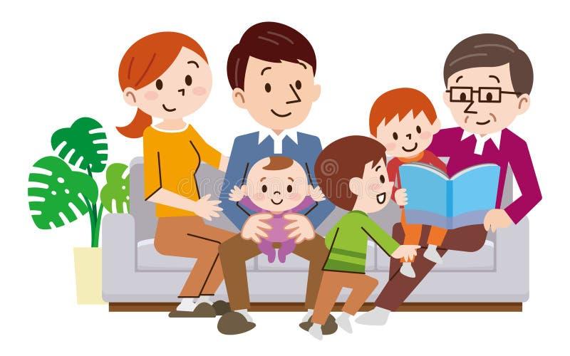 Rozochocona rodzina siedzi w kanapie w domu ilustracja wektor