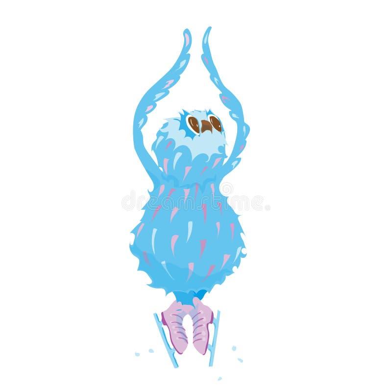 Rozochocona sowa na lodowisku ilustracji