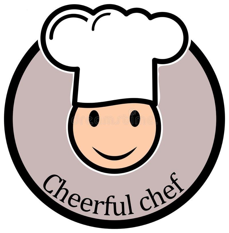 Rozochocona szefa kuchni Smiley A prosta konturowa ikona wektor ilustracji