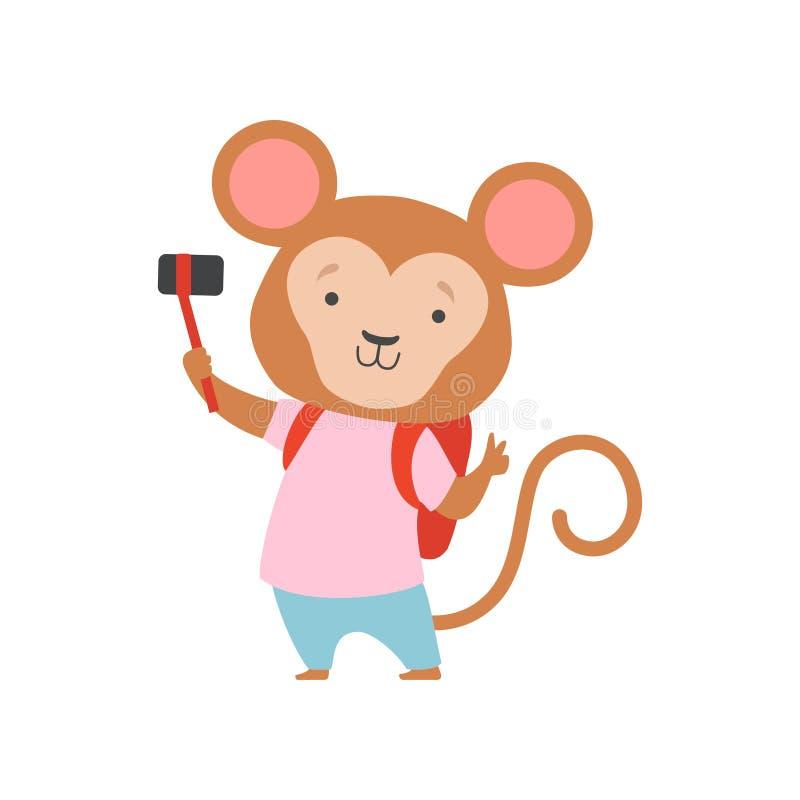 Rozochocona turysta małpa z bacpack i fotografii kamerą, śliczny zwierzęcy postaci z kreskówki podróżowanie na wakacje ilustracji