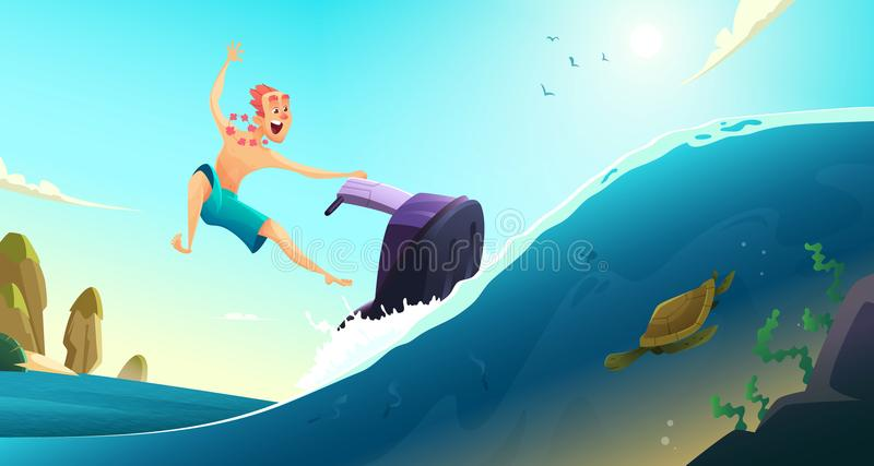 Rozochocona turysta przejażdżka na wodnej hulajnoga Wakacje letni w ciepłych krajach obcy kreskówki kota ucieczek ilustraci dachu obrazy royalty free