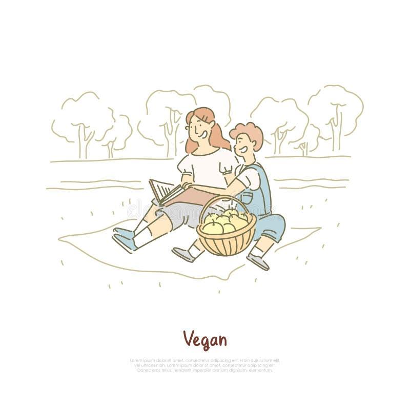 Rozochocona weganin matka z synem, rodzinny plenerowy odpoczynek, kobiety czytelnicza książka, świezi jabłka w koszu, witaminy di ilustracji