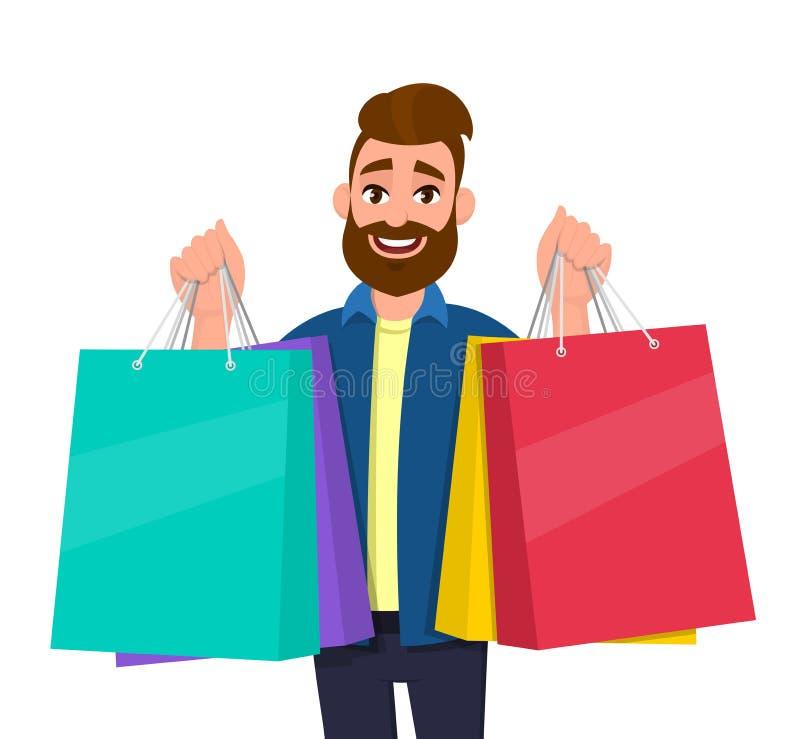 Rozochocone młodego człowieka mienia torby na zakupy Męski charakter niesie colourful torby Nowożytny styl życia, technologia cyf royalty ilustracja