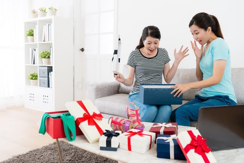 Rozochocone szczęśliwe dziewczyny używa mobilnego komputer obrazy royalty free