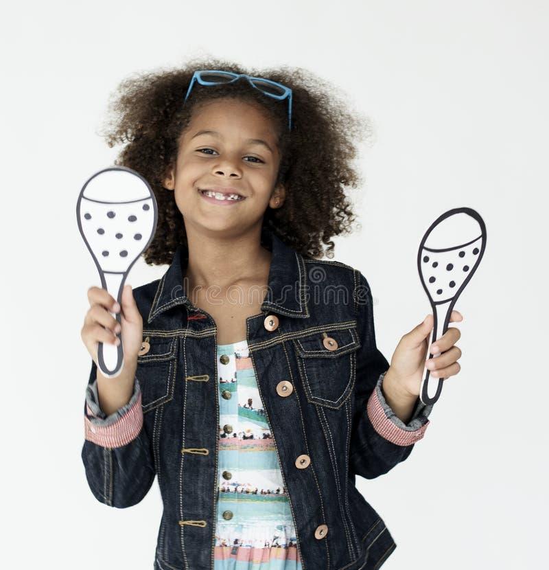 Rozochoconej małej dziewczynki Szczęśliwy Uśmiechnięty Pracowniany pojęcie obrazy stock