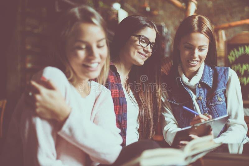 Rozochoconej smiley uczni młodej dziewczyny pracująca praca domowa wpólnie C fotografia royalty free