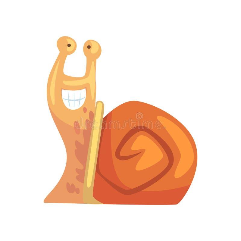 Rozochocony śmieszny ślimaczek, śliczna komiczna mollusk charakteru kreskówki wektoru ilustracja ilustracji
