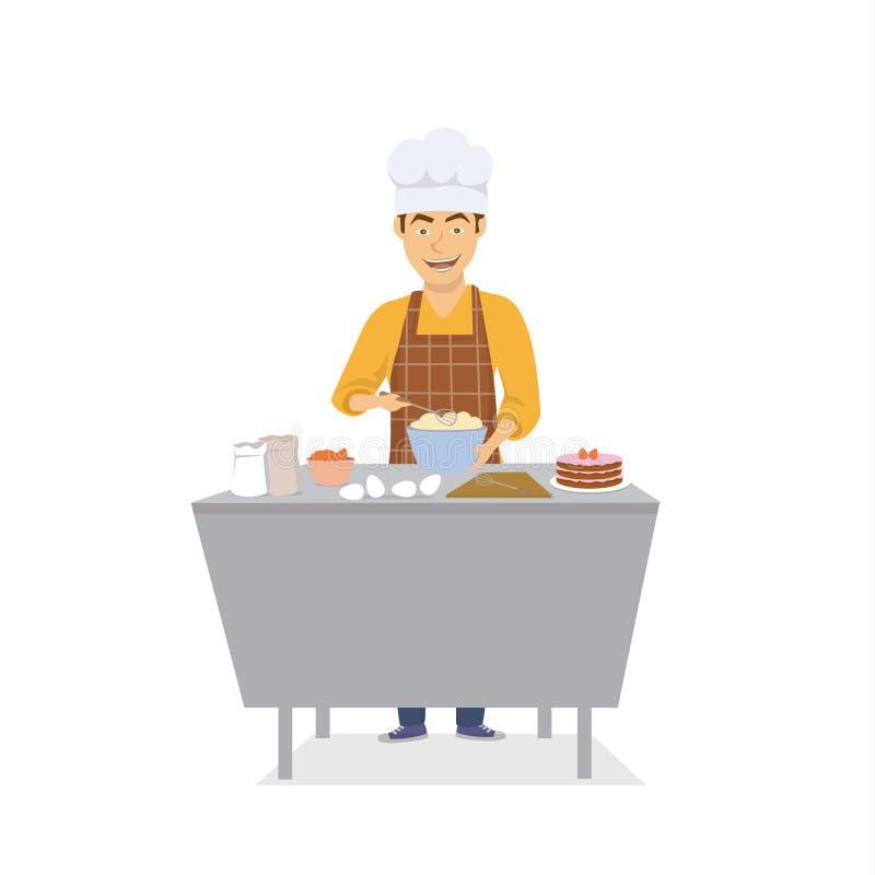 Rozochocony śmieszny mężczyzna szefa kuchni kucharza pieczenie w kuchennym torcie, odosobnionym ilustracji