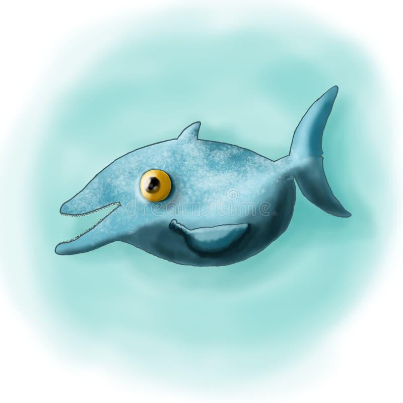 Rozochocony błękitny delfin ilustracja wektor