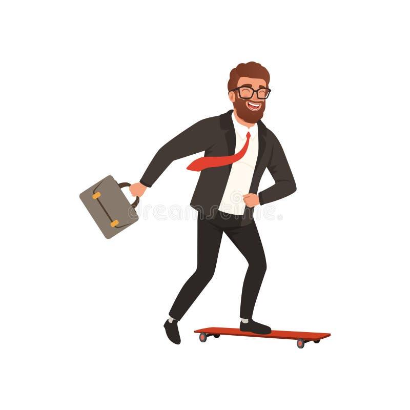 Rozochocony biznesmen jazdy post na deskorolka Kreskówka młody brodaty facet w czarnym formalnym kostiumu z czerwonym krawatem of ilustracji