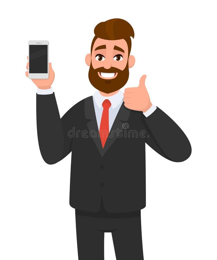 Rozochocony biznesmena trzymać pokazywać i gestykulujący aprobatę/smartphone, wiszącą ozdobę, telefon komórkowego brandnew/w ręce royalty ilustracja