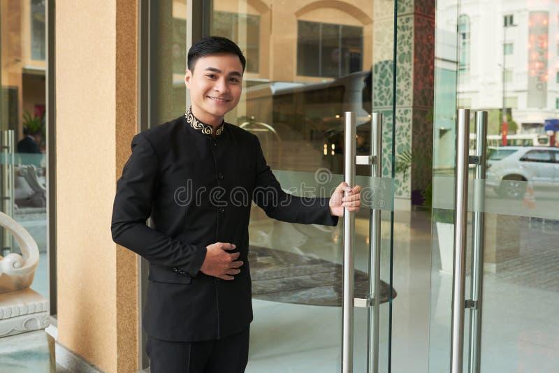 Rozochocony doorman zdjęcia royalty free