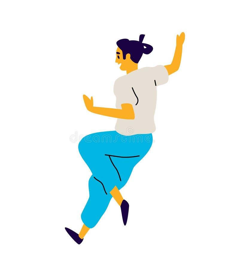 Rozochocony działający facet wektor Ilustracja dancingowy młody człowiek Charakter dla tana studia Mieszkanie styl abstrakcjonist ilustracji
