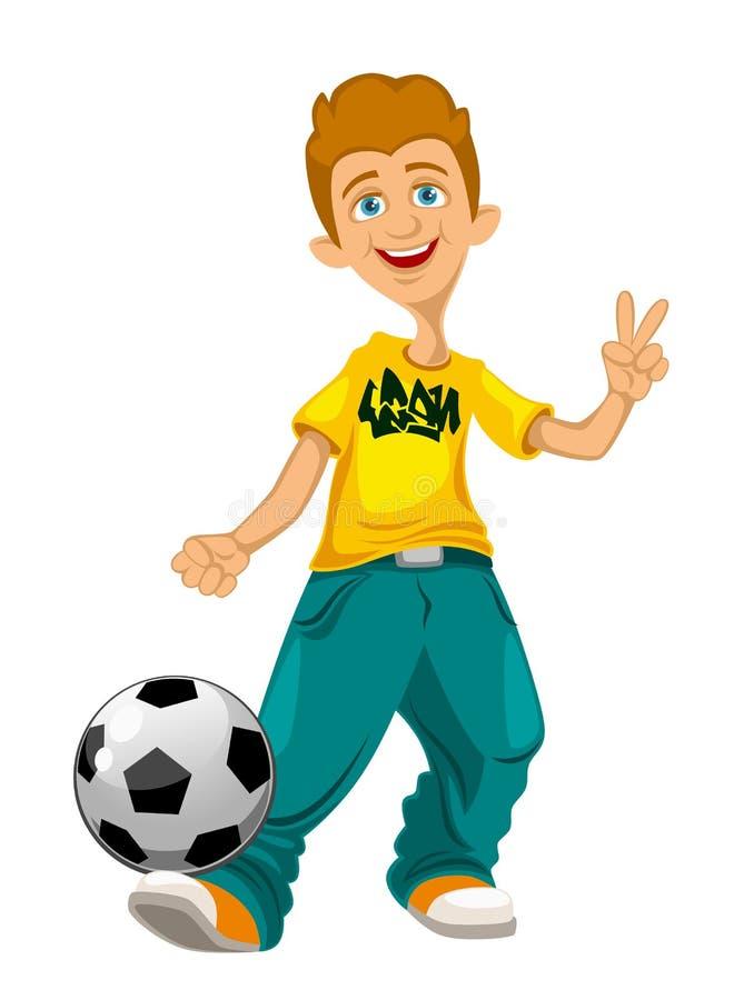 Rozochocony facet z piłki nożnej piłką royalty ilustracja