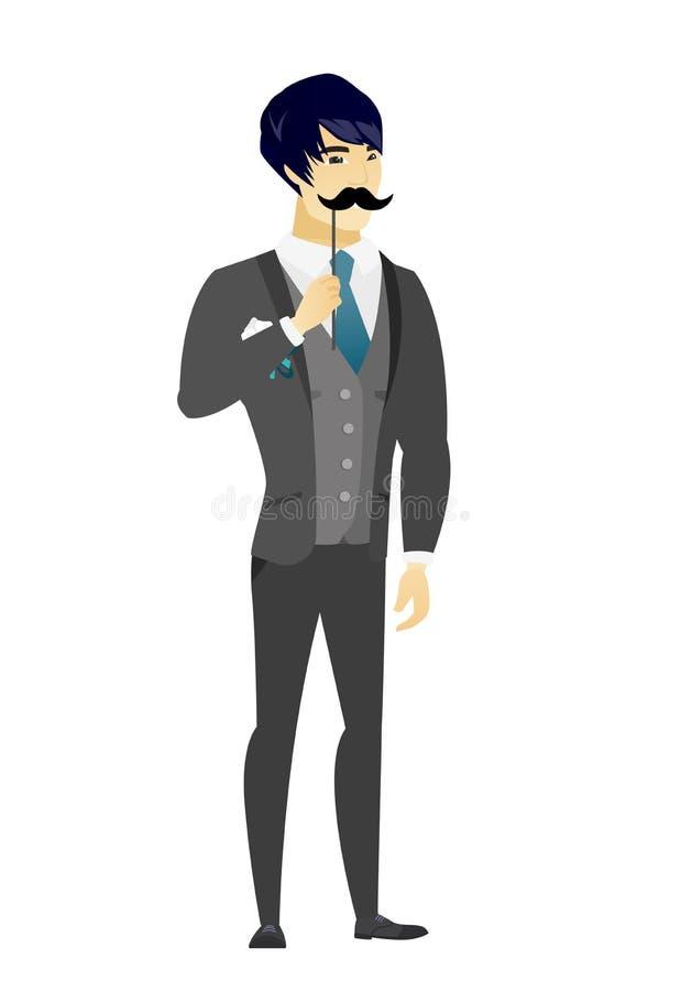 Rozochocony fornal z sfałszowanym wąsy royalty ilustracja