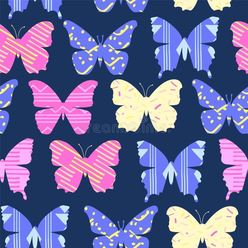 Rozochocony jaskrawy Kolorowy kreskówka motyli tło royalty ilustracja