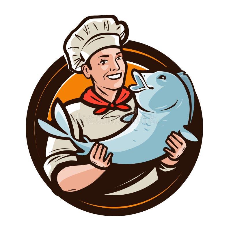 Rozochocony kucharz z ryba Owoce morza, karmowy logo lub etykietka, obcy kreskówki kota ucieczek ilustraci dachu wektor ilustracji